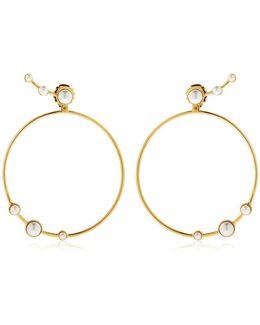 Lava Pearl Circle Earrings