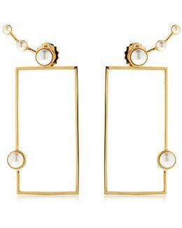 Lava Pearl Geometric Earrings