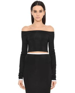 Off The Shoulder Cropped Jersey Top