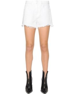 Fringed Cotton Denim Shorts
