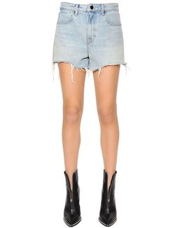 Bleached Fringed Cotton Denim Shorts