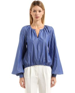 Striped Cotton Blouse W/ Puff Sleeves