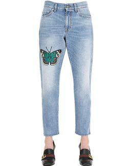 Boyfriend Butterfly Patch Denim Jeans