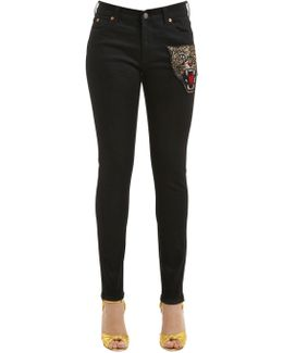 Skinny Tiger Patch Denim Jeans