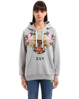 Oversized Tiger Patch Hooded Sweatshirt