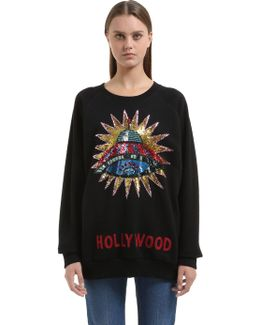 Sequined Ufo Patch Cotton Sweatshirt