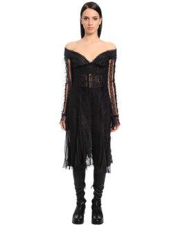 Off The Shoulders Chiffon & Lace Dress