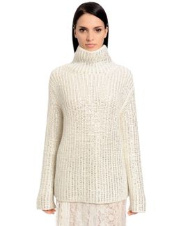 Embellished Wool Knit Turtleneck Sweater