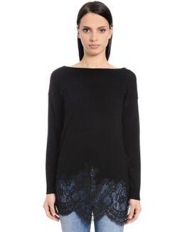 Merino Wool Knit Sweater W/ Lace Hem