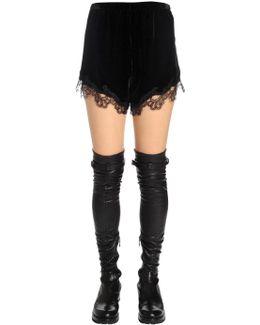 Silk Velvet Shorts W/ Lace Trim