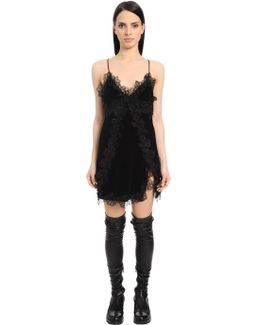 Silk Velvet & Lace Mini Dress
