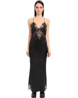 Silk Satin Dress W/ Lace Inserts