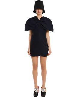 Puffed Shoulder Cool Wool Mini Dress