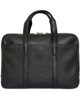 Soft Pebbled Leather Briefcase