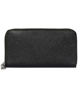 Pebbled Leather Round Zip Wallet