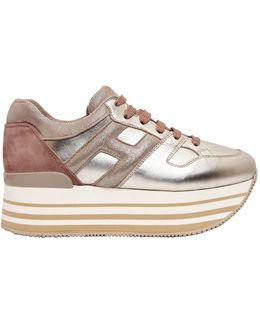 70mm Maxi 222 Metallic Leather Sneakers