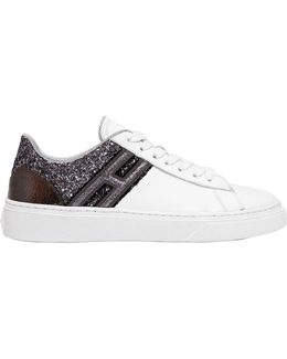 20mm Leather & Glitter Sneakers