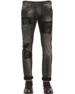 17cm Slim Fit Patch Effect Denim Jeans