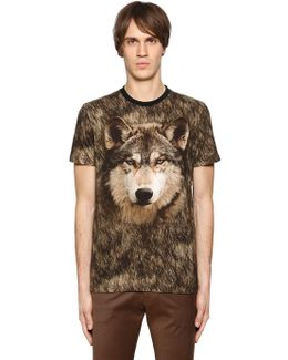 Wolf Printed Cotton Jersey T-shirt