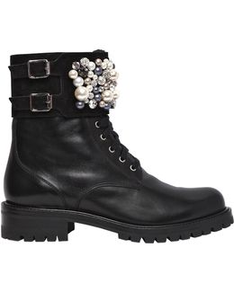30mm Swarovski Leather Boots