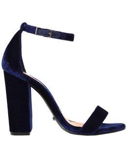 100mm Chunky Heel Velvet Sandals