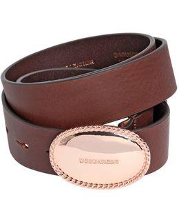 35mm Leather Belt W/ Logo Buckle