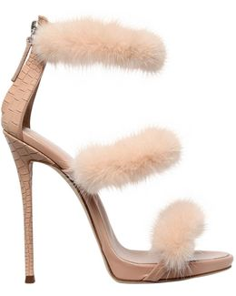 120mm Harmony Mink & Leather Sandals