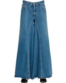 Wide Leg Cotton Denim Jeans