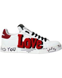20mm Love & Graffiti Leather Sneakers