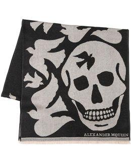 Oversized Skull & Doves Wool Scarf