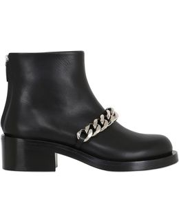 50mm Laura Chained Leather Ankle Boots