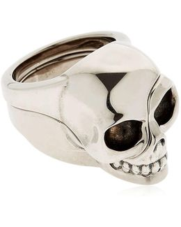 Divided Skull Silver Plated Brass Ring