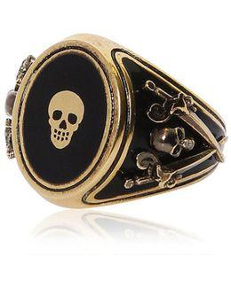 Skull Enameled Brass Ring