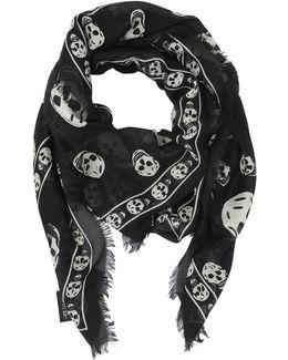 Skull Printed Modal & Silk Blend Scarf