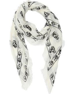 Skull Printed Knit Scarf