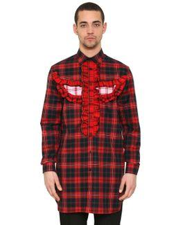 Ruffled Totem Cotton Plaid Maxi Shirt