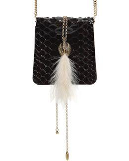 Small Secret Python Bag W/ Feather