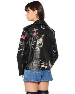 Embellished Washed Nappa Leather Jacket