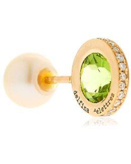 Seal Gold Peridot & Pearl Mono Earring