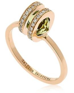 Seal Double Gold Peridot Ring