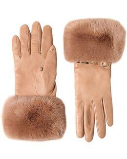 Rockstud Leather & Rabbit Fur Gloves
