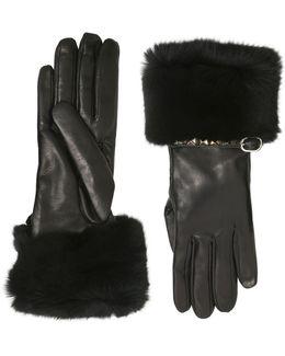 'rockstud' Strap Orylag Fur Trim Leather Gloves