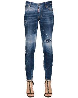 Ripped Medium Waist Skinny Denim Jeans