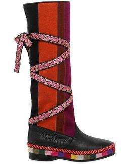 20mm Patchwork Felt & Leather Boots