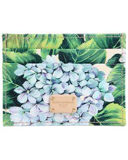Hydrangea Print Leather Card Holder