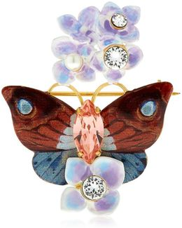 Butterfly And Hydrangea Pin