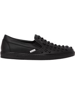 Mixed Stars Leather Slip On Sneakers