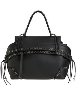 Small Wave Eyelets Grained Leather Bag
