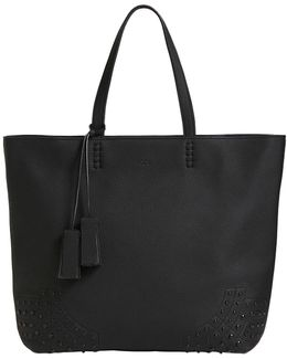 Grained Leather Tote Bag