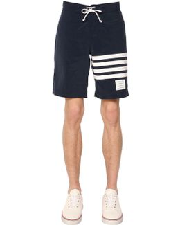 Stripes Printed Nylon Swim Shorts